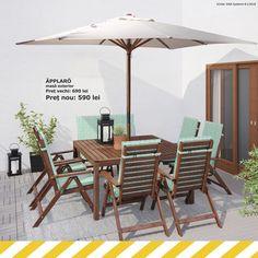 Chiar dacă nu mai este mult din această vară, ea se va întoarce și anul viitor, așa că pregătește un loc pentru masa de exterior ÄPPLARÖ.  ÄPPLARÖ masă exterior Preț vechi: 690 Preț nou: 590  Până pe 19 august ai până la 50% reducere la o mulțime de produse, în magazin și online.  Produsele sunt disponibile în limita stocului. 19 August, Outdoor Furniture Sets, Outdoor Decor, Ikea, Patio, Modern, Home Decor, Trendy Tree, Decoration Home