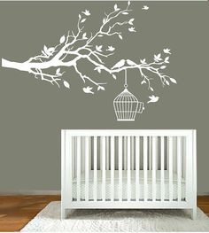 Nursery cuteness! Vinyl Wall Decals - Nursery White Tree Branch - Nursery Wall Art $75