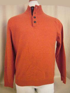 Ethan Pierce Men's #cashmere Size M sweater Orange Henley Style NWT visit our ebay store at  http://stores.ebay.com/esquirestore