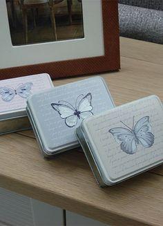 Caja metálica decorativa en tres tonos #decoracion