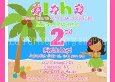 Let's Luau Printable Girl's Invitation by LaPetitePartyShoppe