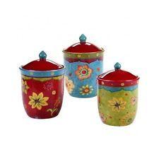 Kitchen Canister Set 3 Piece Ceramic Storage Jars Lids Coffee Tea Sugar Flour