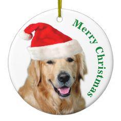 Golden Retriever Ceramic Ornament - holidays diy custom design cyo holiday family