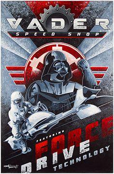 VADERS SPEED SHOP, Star Wars print by Mike Kungl