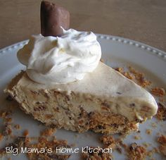 This ice cream pie is inspired by my favorite candy bar, the Butterfinger! It's my Mom's favorite candy bar, and . Frozen Desserts, Frozen Treats, Just Desserts, Delicious Desserts, Dessert Recipes, Yummy Food, Pie Recipes, Butterfinger Ice Cream, Yummy Treats