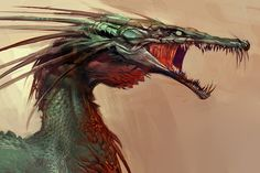 View an image titled 'Dragon Art' in our Guild Wars: Eye of the North art gallery featuring official character designs, concept art, and promo pictures. Alien Creatures, Fantasy Creatures, Mythical Creatures, Fantasy Dragon, Dragon Art, Fantasy Art, Creature Concept Art, Creature Design, Dragons