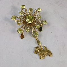 Vintage Citrine Rhinestone and Gold Snowflake OOAK Scottie Brooch Pin