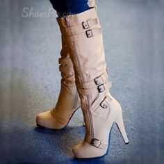 Camel Coppy Leather Stiletto Heel Knee High Boot
