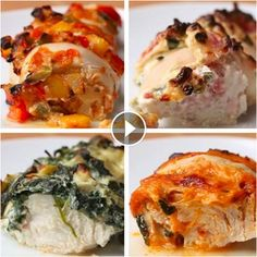 Hasselback Chicken 4 Ways(Chicken Dishes) I Love Food, Good Food, Yummy Food, Tasty Videos, Food Videos, Cooking Videos, Cooking Recipes, Healthy Recipes, Food To Make