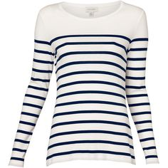 Witchery Breton Stripe Top ($35) ❤ liked on Polyvore featuring tops, sweaters, shirts, blusas, long sleeves, cotton sweater, white cotton sweater, white striped shirt, striped shirt and long sleeve shirts