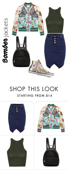 """""""ms1"""" by ms-zed ❤ liked on Polyvore featuring Gucci, Topshop, STELLA McCARTNEY, Converse and bomberjackets"""