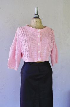 cropped sweater / light pink knit cotton by FiregypsyVintage, $36.94