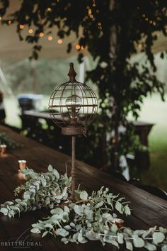 Trees under the wedding reception tent. Simple eucalyptus on the farm tables