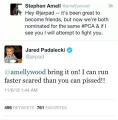 Jared and Stephen Amell As a fan of Arrow and Supernatural this is cute! lol