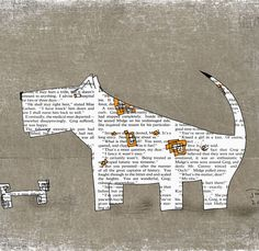 Dog art print, Nursery dog art poster, Print of dog, Big dog Little dog, Paper art dog, Vintage dog print from dog watercolor 12x16 inch
