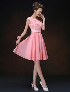 uma linha / princesa um ombro mini vestido curto / dama de honra (819)