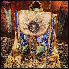"""Boho Gypsy Pandora Sling Purse, Backpack, Handbag, Bohemian Shoulder Bag, Slouch Bag, Tassel Fringe, Gold Trim, Tapestry, 11.5"""" x 14.5"""" on Etsy, $165.00"""