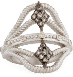 Armenta New World Twisted Ring w/ Champagne Diamonds, Size 7