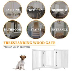 WELLAND Freestanding Wood Pet Gate with Walk Through Door White ** (paid link) Visit the image link more details. Pet Gate, Dog Fence, Large Dogs, Image Link, Pets, Wood, Amazon, Big Dogs, Amazons