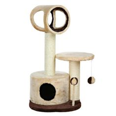 The Trixie Pet Products Lucia Cat Tree features an elevated platform, plush-lined tunnel, and cozy condo for your feline friend to enjoy. Pompom toys and a natural sisal-wrapped scratching post encourage your pet to play and scratch. Cat Tree House, Cat Tree Condo, Cat Condo, Cat Tree Designs, Kitten Beds, Cat Beds, Cat Cube, Cat Activity, Cat Towers