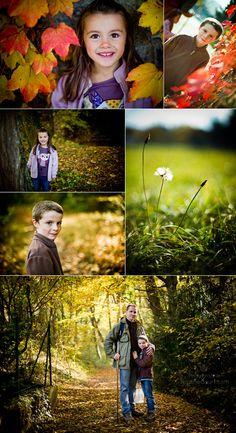 Photos d'enfants dans une forêt aux couleurs d'automne