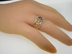 NEW Ornate 9K Yellow Gold Genuine Natural Oval by GemsofLondon