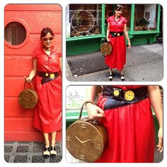 When time jumped out of the circle of life into my bag & my belt. Even time needs a break!  #valentino #vintagevalentino #valentinodress #waxcotton #reddress #vintageclockbag #vintagecirclebag #circlebag #vintagetimepiecebelt #clockbelt #twotonebrogues #vintagehandcutleather #vintageleathersunglasses