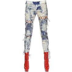 Ashish Women Lace-up Washed & Studded Denim Jeans ($1,870) ❤ liked on Polyvore featuring jeans, bleached jeans, studded jeans, lace up jeans, ashish and bleaching white jeans