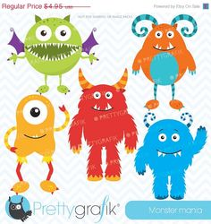 80 OFF SALE monster clipart commercial use by Prettygrafikdesign