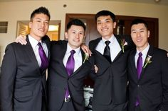 purple groomsmen ties with black suits?/// I love this idea.. But I'd change from purple to like Royal Blue..