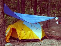 Protect your tent from rain with a tarp. A light colored tarp keeps it cooler in the summer.