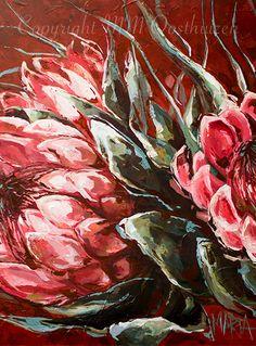 Your voice is in the wind Original Fine Art Painting by Maria Magdalena Oosthuizen. Romantic Artwork, Beautiful Artwork, Canvas Art Prints, Fine Art Prints, Protea Art, Landscape Artwork, Flower Art, Original Art, Sign