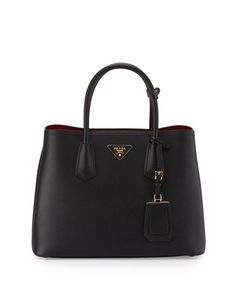 Saffiano Cuir Double Small Tote Bag, Black/Red (Nero+Fuoco)