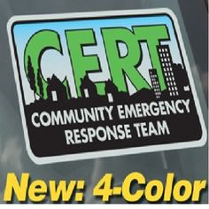 SSCRT-CLING CERT window cling decal from Sunset Survival & First Aid…