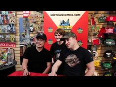 Jim Lee and Geoff Johns at Midtown Comics Downtown for the Justice League Vol. 1 HC signing!