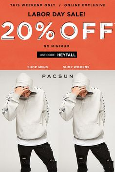 Pacsun This Weekend Only Online Exclusive Labor Day Sale 20% Off For More See At:  http://couponspromocodez.com/store/pacsun-coupons/ #men #women #shirt #sale #top #jean #clearance