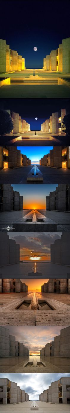 Salk Institute, La Jolla, California, 1965 // Louis Kahn Reminds me of the Oseirion. Louis Kahn, Contemporary Architecture, Art And Architecture, Architecture Details, La Jolla, Kahn Design, Brutalist, Kirchen, Landscape Design