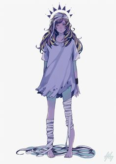Anime picture with original nanakawa (nanasoon) long hair single tall image looking at viewer blonde hair simple background white fringe standing barefoot aqua eyes signed torn clothes girl bandage (bandages) wristlet Character Concept, Character Art, Concept Art, Manga Girl, Anime Girls, Character Illustration, Illustration Art, Drawn Art, Image Manga