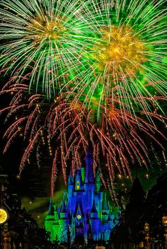 """Wishes"" -- Magic Kingdom, Disney World -- I love the colors of the fireworks in the sky over the castle!"