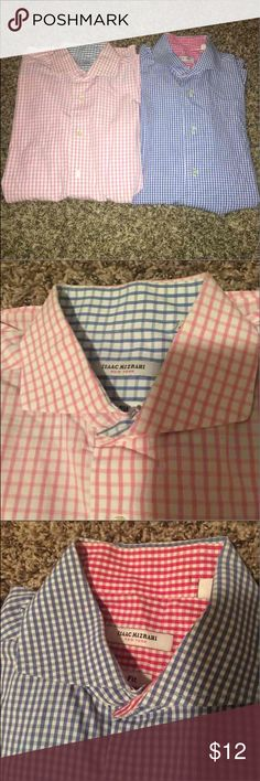 Men's Dress Shirts! Love these shirts, and they're in great condition- only issue is both shirts have left over residue from the dry cleaning sticker on the interior (when you fold over the materials behind the buttons). They don't show when Shirt is buttoned.  Size 16 32/33 Isaac Mizrahi Shirts Dress Shirts