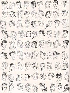 81 Hairstyles that Women Loved in 1940. Vintage Hairstyle Inspiration/ 1940s Hair/ Illustration. #1940s #1940sfashion #vintagehair #1940shair #hairstyle #illustration #WW2 Smart Hairstyles, 1940s Hairstyles, Wedding Hairstyles, Drawing Hairstyles, Wedding Updo, Latest Hairstyles, Easy Vintage Hairstyles, Homecoming Hairstyles, Retro Updo