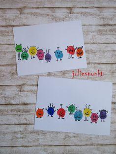 Colorful fingerprint cards - Kids' Crafts for Diy and Crafts Funny Birthday Cards, Diy Birthday, Hobbies Ideas, Fingerprint Cards, Cute Messages, Monster Party, Diy Cards, Diy Crafts For Kids, Birthday Invitations
