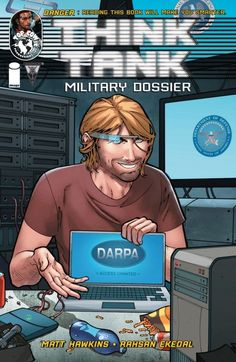 """Think Tank Military Dossier #1  Get an exclusive behind the scenes look into the process of the hottest new title form Minotaur Press! Hack into the classified personnel files of slacker genius Dr. David Loren and all the other characters you know and love from behind the concrete barricades of a DARPA contracted Think Tank! School yourself on the extended """"Science Class"""" that further explores the real world science behind the Reaper drones, guided bullets, and much, much more."""