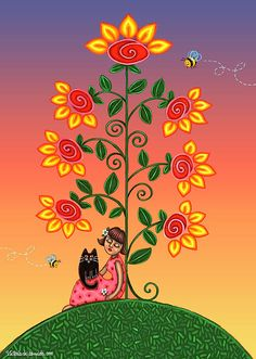 """Kitty And Bumblebees"" by Victoria De Almeida."