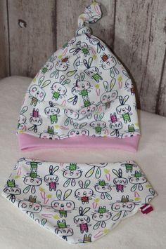 Säuglings Set Knotenmütze/Halstuch,  Jersey  Gr, 0  Dawanda ♡