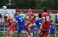 17 July 2013 Leon Osman heads Everton's fourth in a pre season friendly at Accrington Stanley