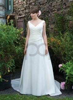 Taffeta Ruched Asymmetrical A-line V-neck Neckline Wedding Dress