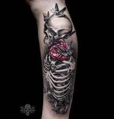 Skeleton With Pink Rose & Moths | Best tattoo ideas & designs