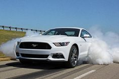 2015 Ford Mustang GT White Burnout