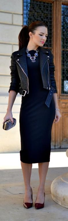 Street style black dress statement necklace.